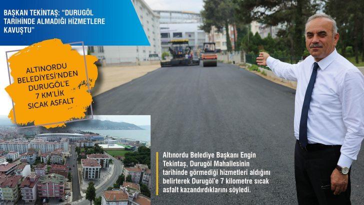 ALTINORDU BELEDİYESİ'NDEN DURUGÖL'E 7 KM'LİK SICAK ASFALT