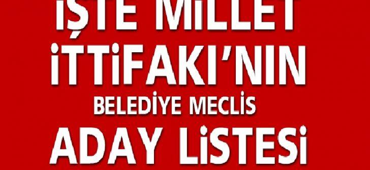 Ordu Milet İttifakı Belediye Meclis  Listesi