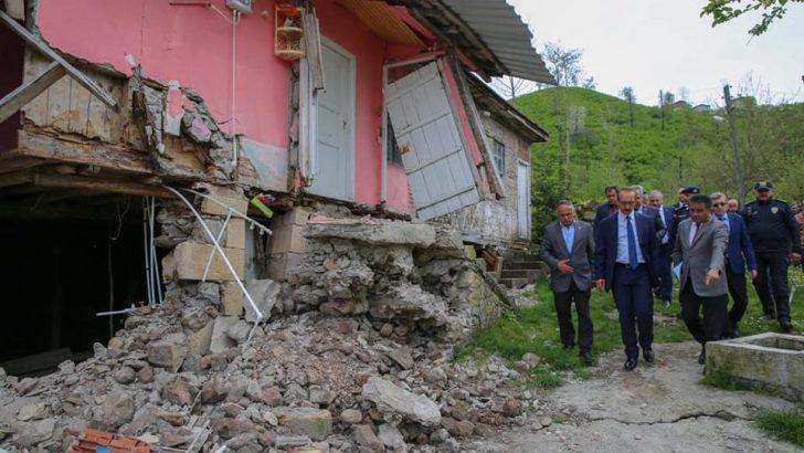 Ordu'da heyelandan  6 ev tahliye edildi
