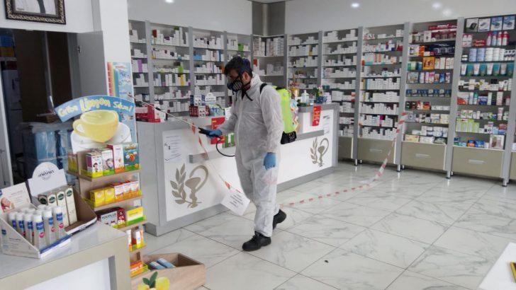 ORDU'DA ECZANELER DEZENFEKTE EDİLDİ